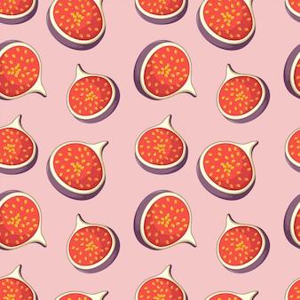 Bezszwowy wzór z smakowitymi plasterkami figi