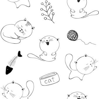 Bezszwowy wzór z śmiesznymi kotami
