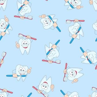 Bezszwowy wzór z śmiesznymi zębami.