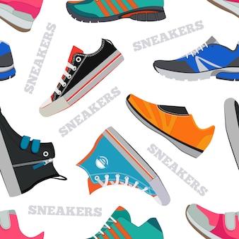 Bezszwowy wzór z sneakers i chodzącymi butami. zdjęcia wektorowe w stylu płaskiej. kolor tła obuwie buty ilustracji