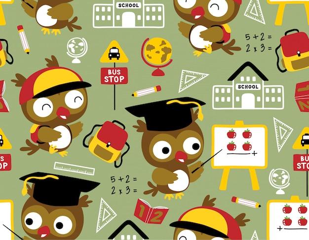 Bezszwowy wzór z sowy kreskówką z szkolnymi dostawami