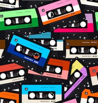 Bezszwowy wzór z starymi kasetami audio