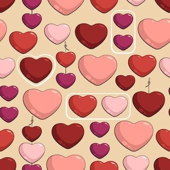 Bezszwowy wzór z stubarwnymi sercami