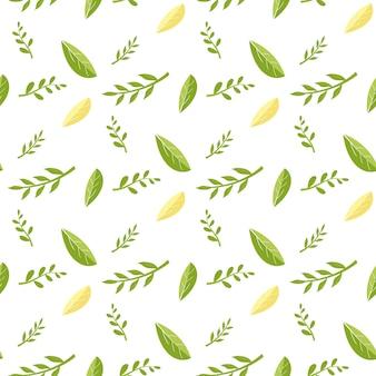 Bezszwowy wzór z świeżymi zielonymi i żółtymi liśćmi.