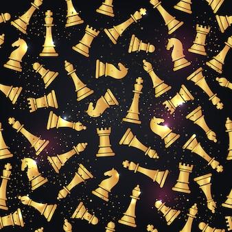 Bezszwowy wzór z szachowymi kawałkami