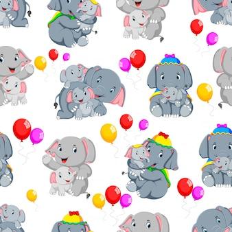 Bezszwowy wzór z szczęśliwym słoniem