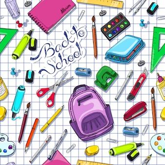 Bezszwowy wzór z szkolnymi dostawami