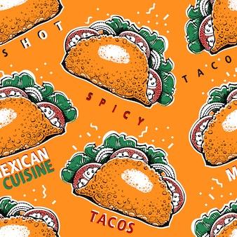 Bezszwowy wzór z taco.