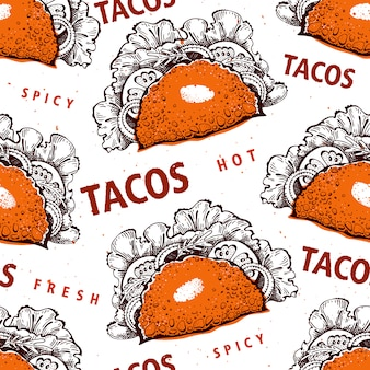 Bezszwowy wzór z tako. meksykańskie jedzenie.