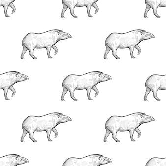 Bezszwowy wzór z tapirem.
