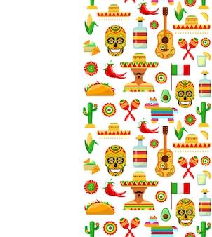 Bezszwowy wzór z tradycyjnymi meksykańskimi atrybutami
