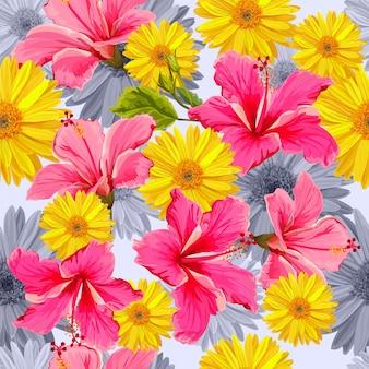 Bezszwowy wzór z tropikalną kwiatu wektoru ilustracją