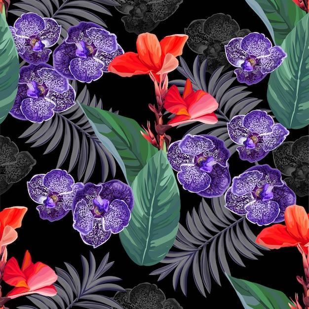 Bezszwowy wzór z tropikalnym kwiatem