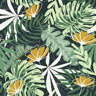 Bezszwowy wzór z tropikalnymi liśćmi i kwiatami