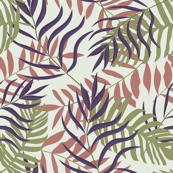 Bezszwowy wzór z tropikalnymi liśćmi