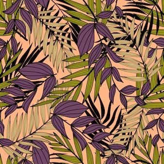 Bezszwowy wzór z tropikalnymi purpurowymi liśćmi i roślinami