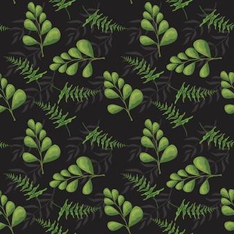 Bezszwowy wzór z tropikalnymi roślinami