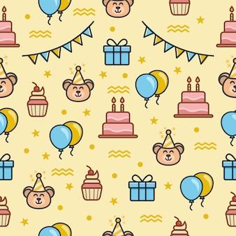 Bezszwowy wzór z urodzinowym tematem