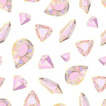 Bezszwowy wzór z wektorowymi barwionymi kryształami