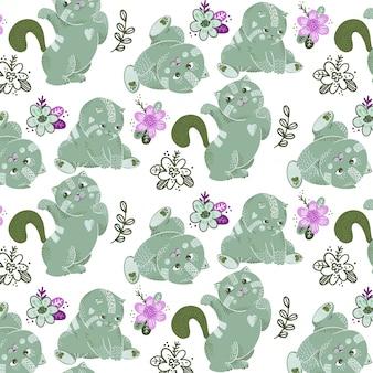 Bezszwowy wzór z wektorowymi zielonymi kotami i roślinami