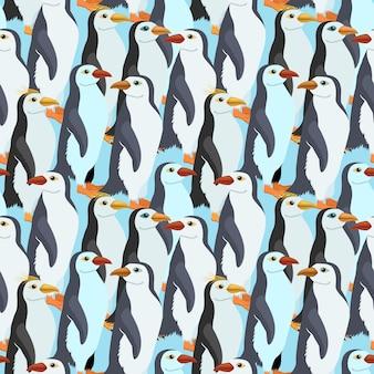 Bezszwowy wzór z wiele cesarskim pingwinem