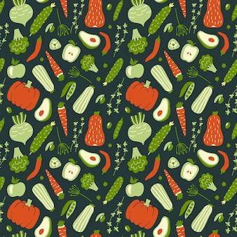Bezszwowy wzór z zielonymi i czerwonymi warzywami.