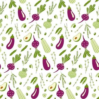 Bezszwowy wzór z zielonymi i fiołkowymi doodle warzywami.
