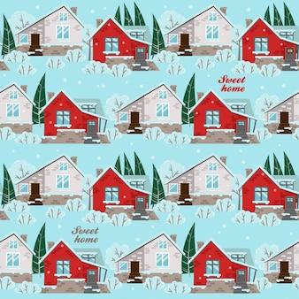 Bezszwowy wzór z zima domami