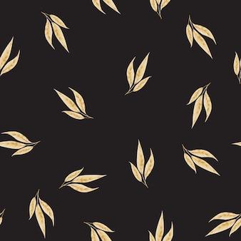Bezszwowy wzór z złocistymi liśćmi.
