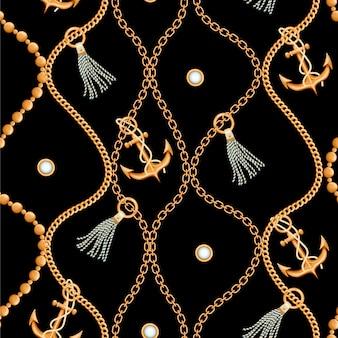 Bezszwowy wzór z złotym łańcuchem
