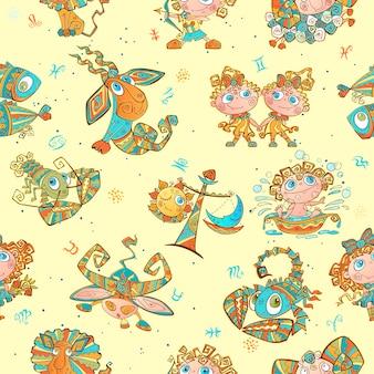 Bezszwowy wzór z zodiak znakami dla dzieciaków.