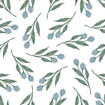 Bezszwowy wzór zielonych liści i niebieskich pąków do projektowania tekstyliów
