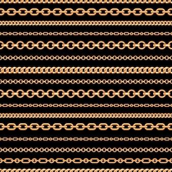 Bezszwowy wzór złociste łańcuszkowe linie na czarnym tle