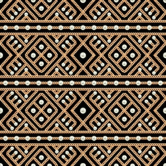 Bezszwowy wzór złocisty łańcuszkowy ornament i perły na czarnym tle