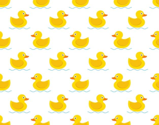 Bezszwowy wzór żółta gumowa kaczka na białym tle