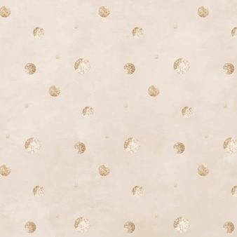 Bezszwowy złoty wzór kropkowany na beżowym tle wektora