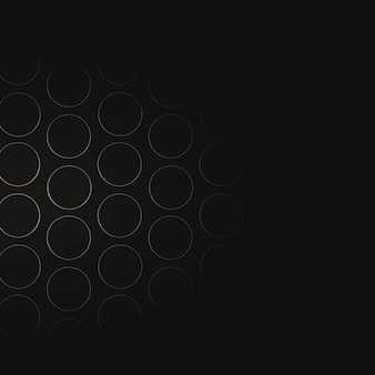 Bezszwowy złoty wzór siatki koła na czarnym tle