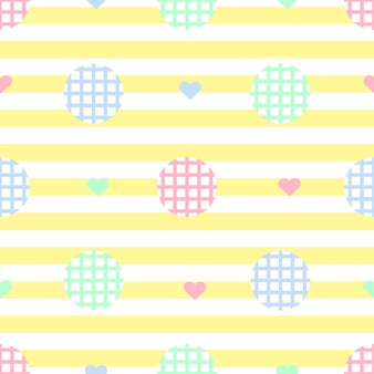 Bezszwowych monochromatycznych prostych kropki z kolorowym wzorem serca na? ó? tym paskiem tle