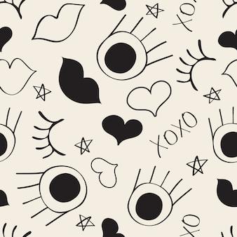 Bezszwowych monochromatycznych ręcznie narysowanych wzór deseń tła z oczu, rzęs, usta i serca