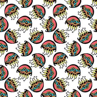 Bezszwowych retro galaretowych rybich dzieciaków deseniowy tapetowy tło w wektorze