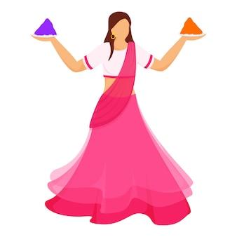 Beztwarzowa indyjska młoda kobieta gospodarstwa płytki kolor proszku (gulal) w pozie stałej.