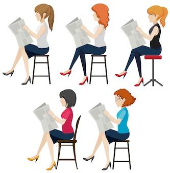 Beztwarzowe kobiety czytające