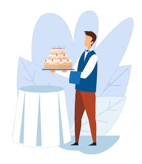 Beztwarzowy kelner podaj imprezowy stół z glazurowanym ciastem