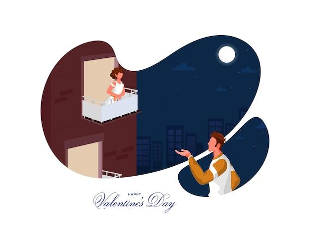 Beztwarzowy młody człowiek proponuje swojej dziewczynie na abstrakcyjnym tle w nocy