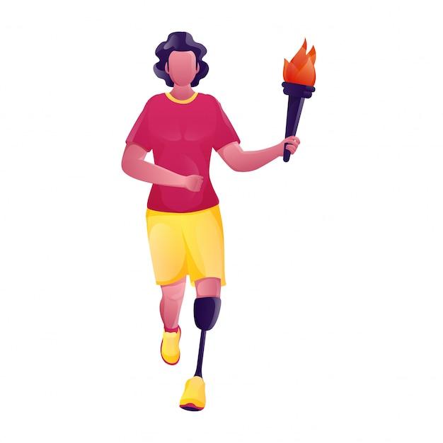 Beztwarzowy niepełnosprawny młody chłopiec trzyma płonącą pochodnię w bieg pozie.