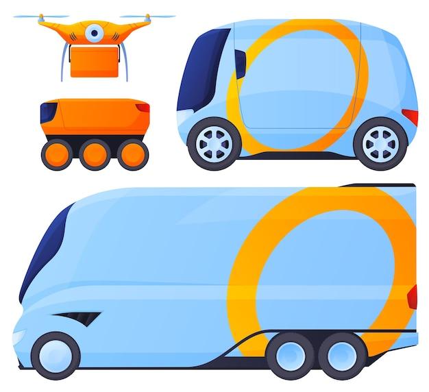 Bezzałogowe pojazdy. rozsądna dostawa towarów, transport towarów bez udziału człowieka. dostawa dronami