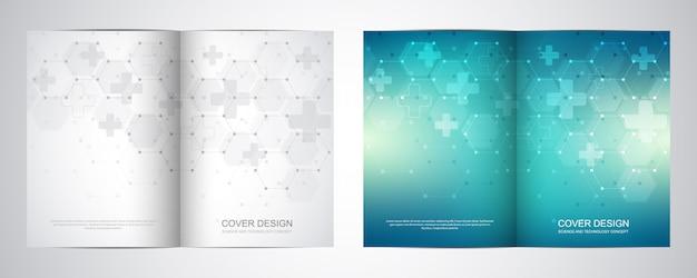 Bi krotnie broszura szablon z abstrakcyjnym wzorem sześciokąty.