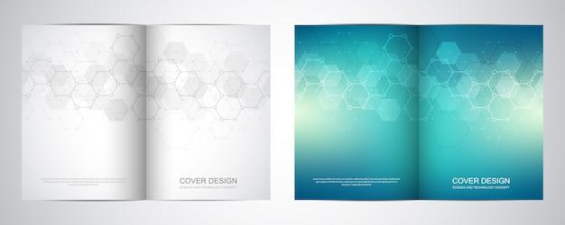 Bi-krotnie broszura szablon z wzorem sześciokątów.
