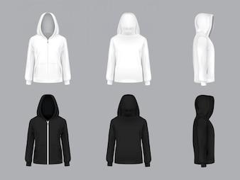 Biała i czarna bluza z długimi rękawami i kieszeniami, przód, tył, widok z boku,