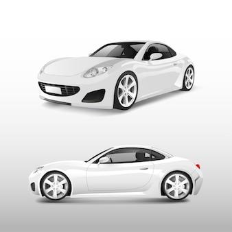 Biały sporta samochód odizolowywający na białym wektorze